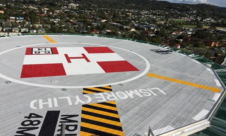 25m 16 sided polygonal helipad for Lismore Base Hospital