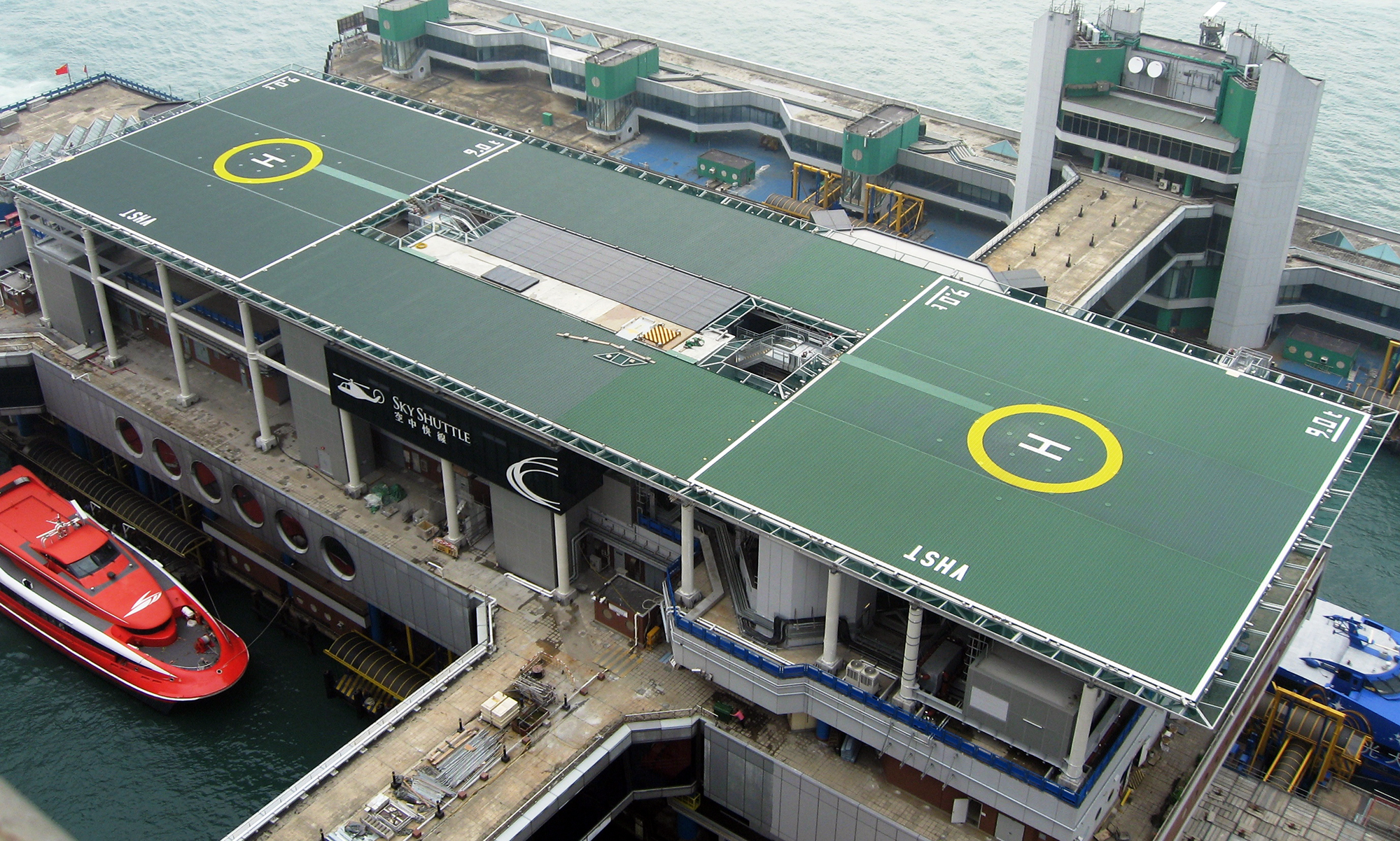 110m x 34m twin helipad at the Hong Kong Ferry Terminal – World's largest heliport